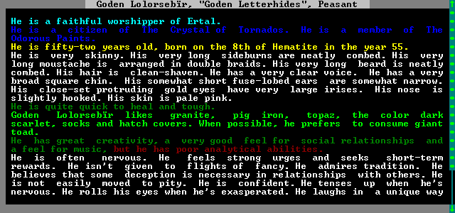 Dwarves remember the stories that happened to them... especially the dwarves of